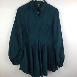 FREE PEOPLE Teal Ballon Sleeve Tunic